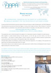 Communiqué de presse : une convention internationale pour le droits des personnes âgées