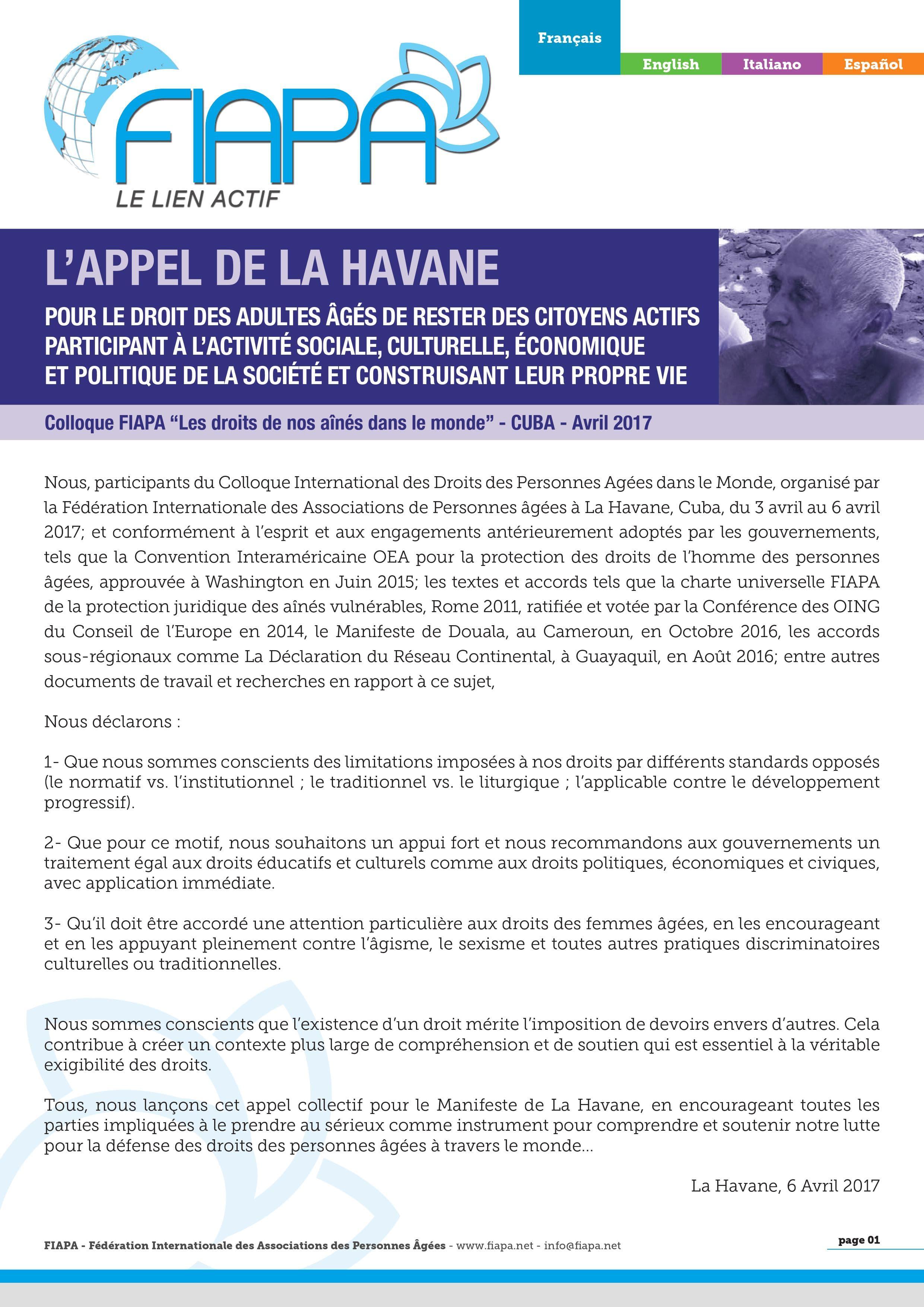 Première du manifeste des droits des ainés dans le monde en version française